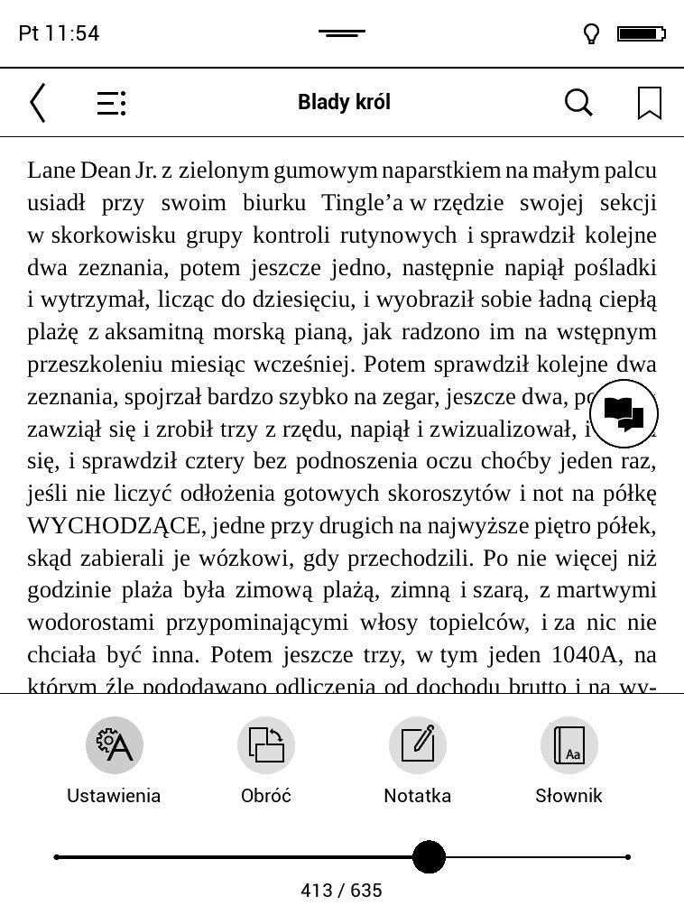 Otwieranie górnego i dolnego menu na czytniku PocketBook
