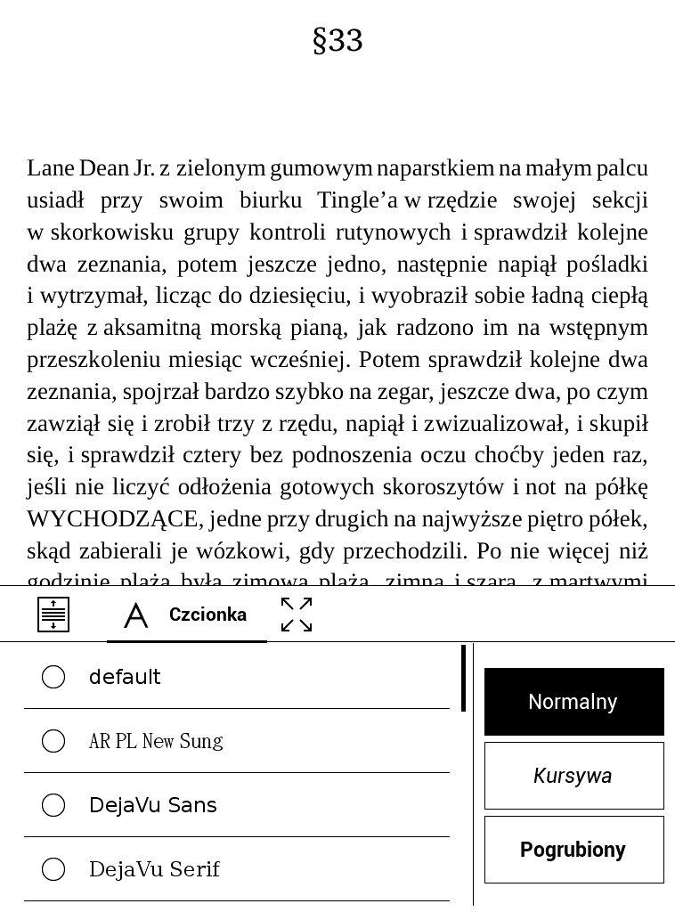 Przeglądanie dostępnych czcionek na czytniku PocketBook