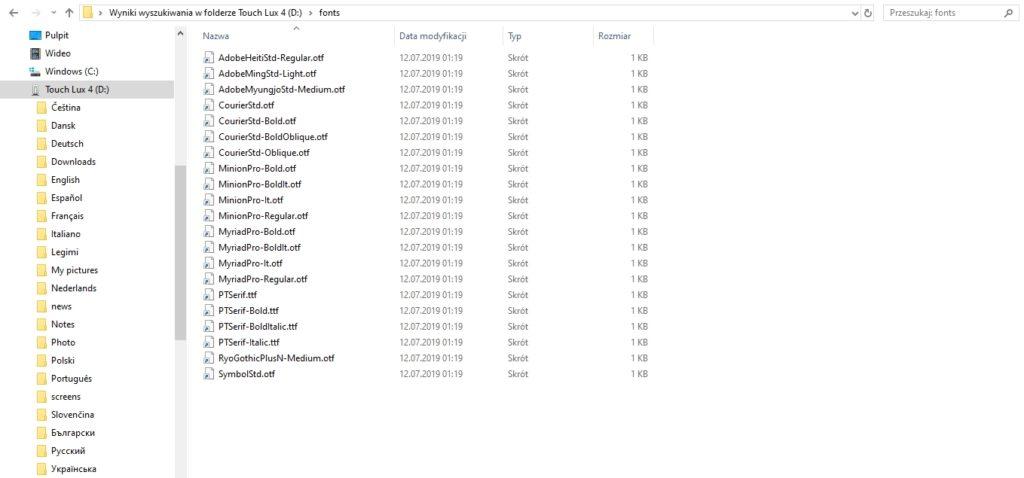Podgląd katalogu z czcionkami w pamięci czytnika ebooków