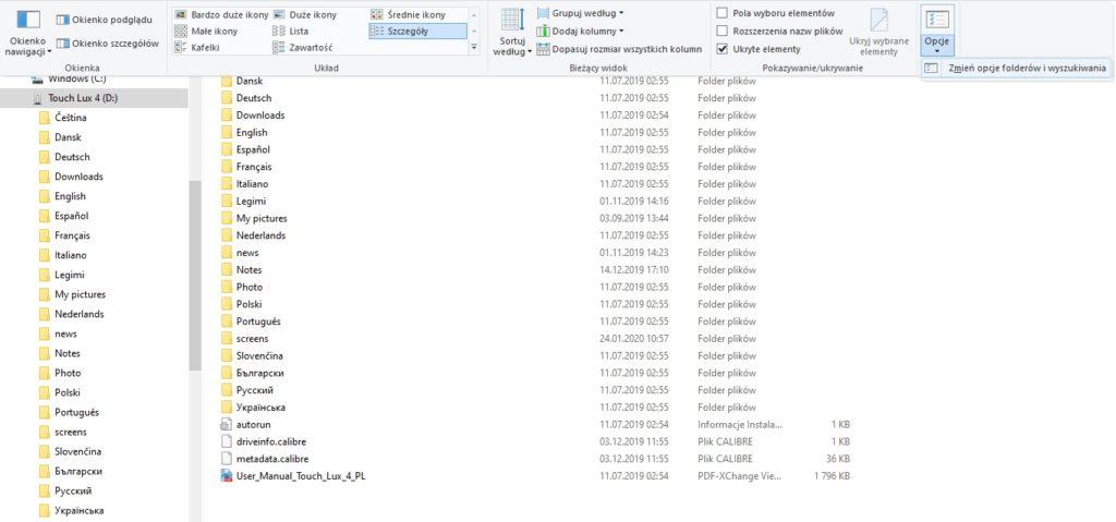 Zmiana ustawień wyświetlania folderów na komputerze