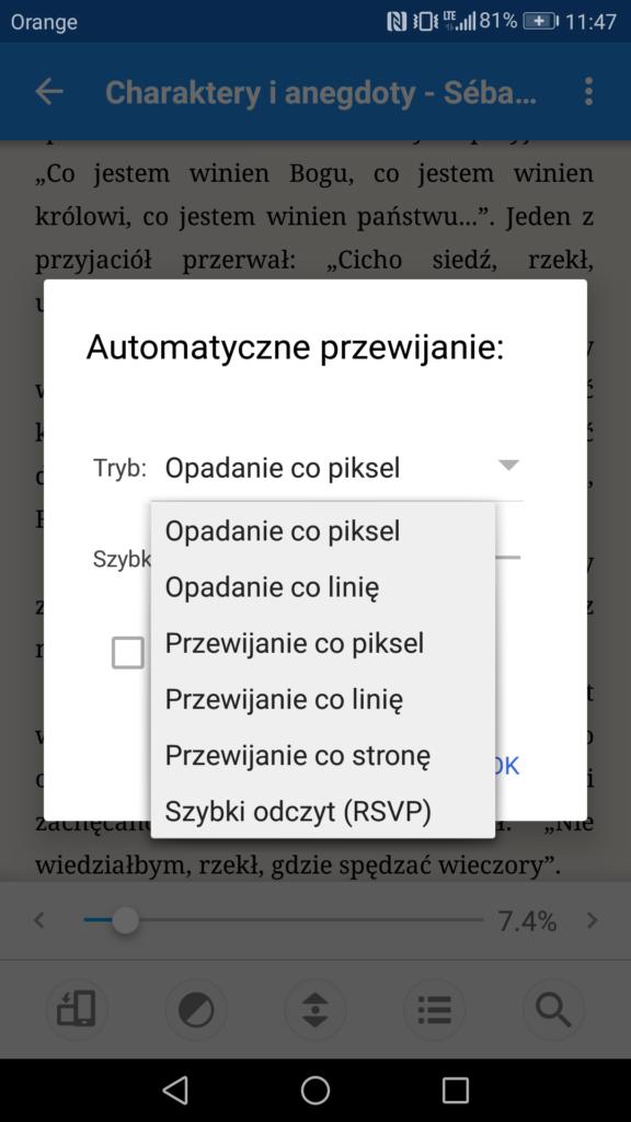 Opcje automatycznego przewijania tekstu w aplikacji Moon+ Reader
