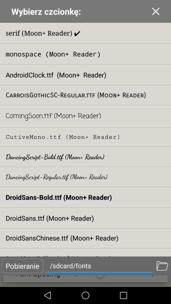 Wybór czcionki w aplikacji Moon+ Reader