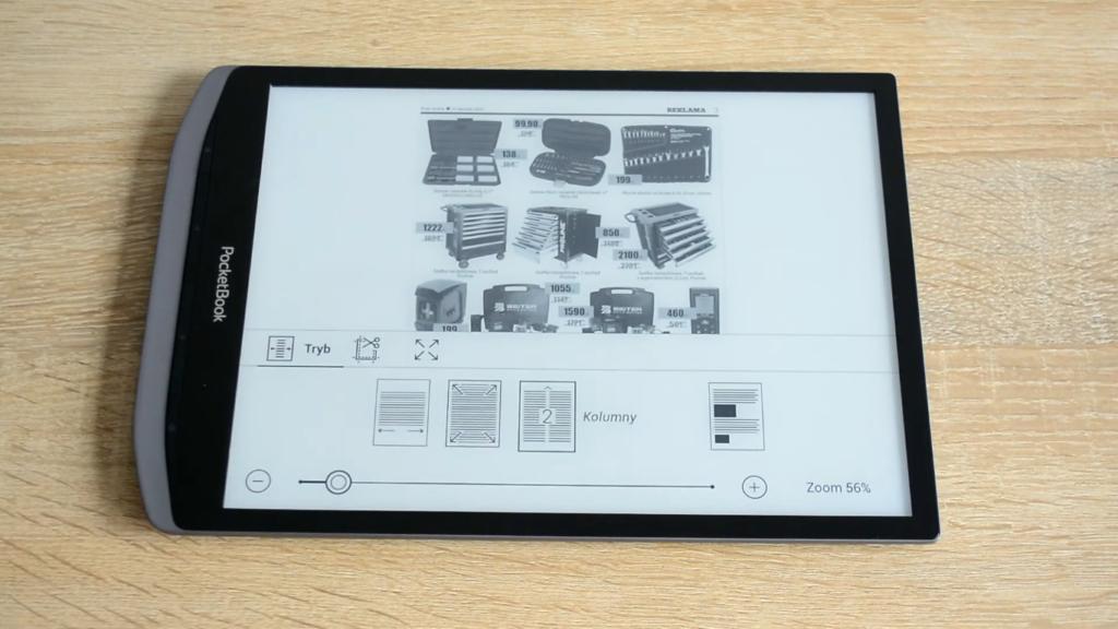 4 tryby dopasowywania tekstu i obrazu do szerokości ekranu na czytniku PocketBook InkPad X