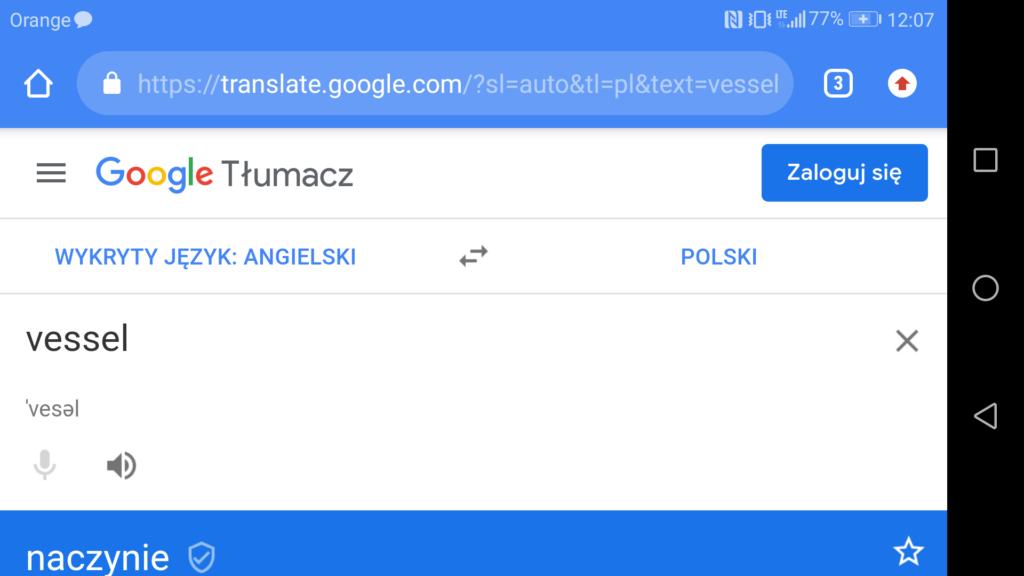 Tłumaczenie słowa w Google Translatorze w aplikacji Moon+ Reader