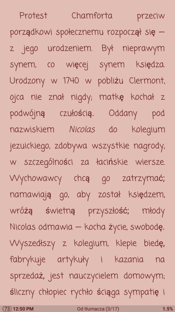 Różowy motyw w aplikacji Moon+ Reader
