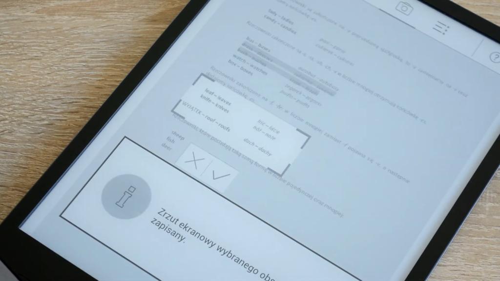 Zapisywanie części strony w formie zdjęcia na czytniku PocketBook InkPad X