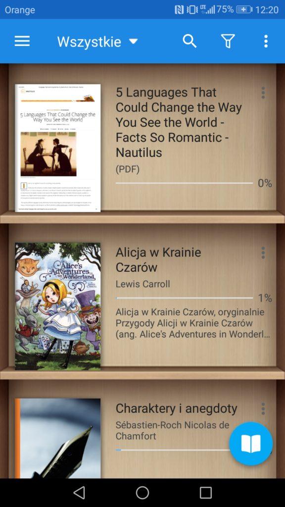 Półki z książkami w aplikacji Moon+ Reader