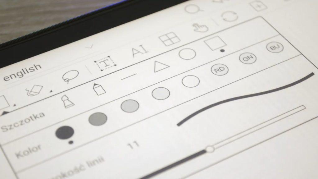 Pasek narzędzi do robienia notek na Onyx Boox Note 2