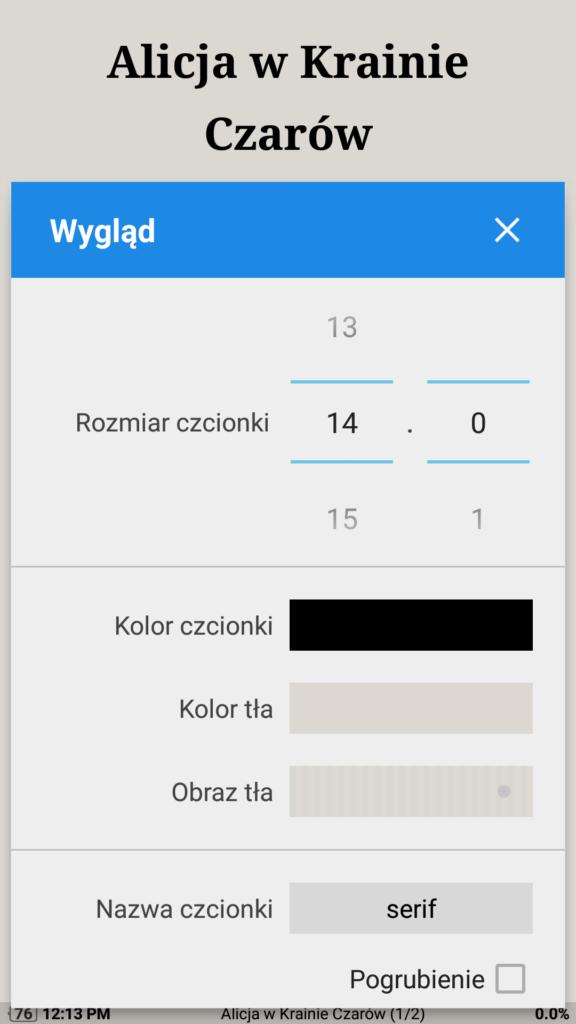 Personalizacja ustawień wyświetlania tekstu w aplikacji Moon+ Reader