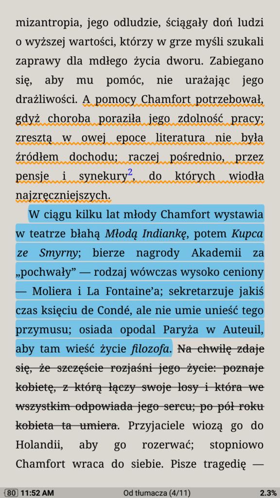 Oznaczanie fragmentów tekstu w aplikacji Moon+ Reader