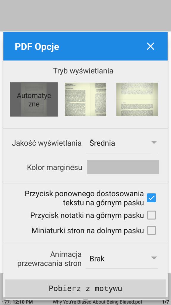 Opcje wyświetlania plików PDF w aplikacji Moon+ Reader