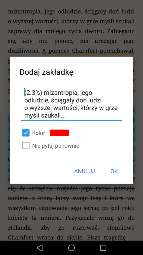 Dodawanie zakładek w aplikacji Moon+ Reader