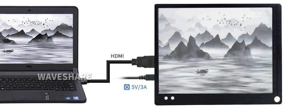 Łączenie monitora E Ink Waveshare z komputerem za pomocą kabla HDMI