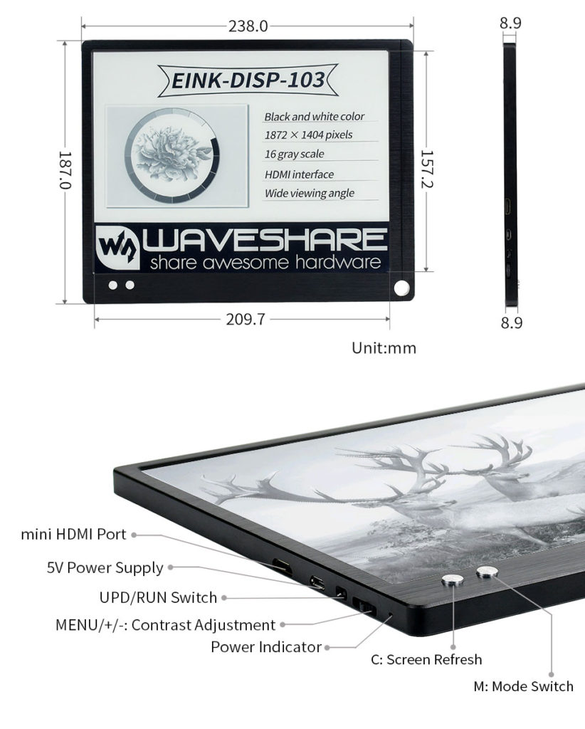 Wymiary i gniazda monitora E Ink Waveshare