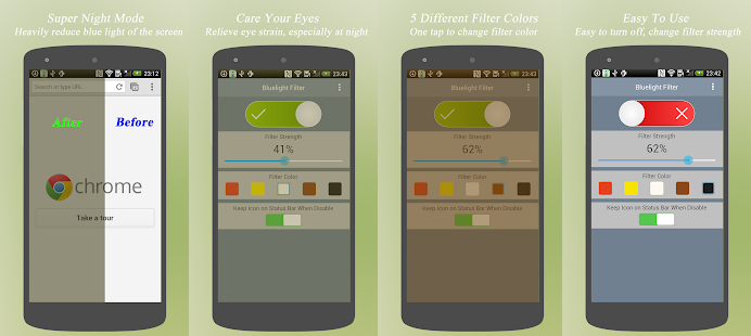 Regulacja barwy podświetlenia smartfona za pomocą aplikacji Niebieski filtr światła