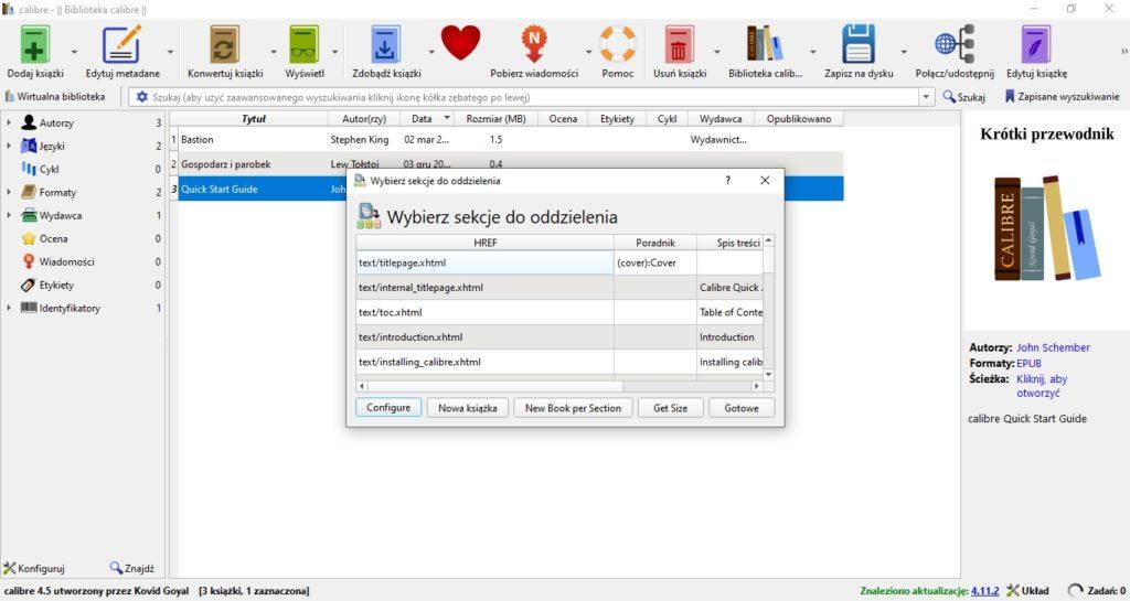 Dzielenie ebooków w programie Calibre