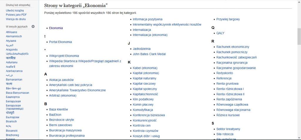 Strony w kategorii Ekonomia na Wikipedii