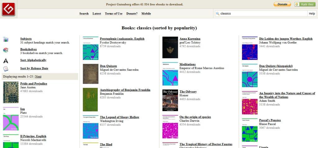 Literatura klasyczna dostępna za darmo w serwisie Project Gutenberg