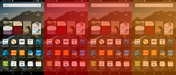 Działanie filtra Blue Shade na tablecie Kindle Fire