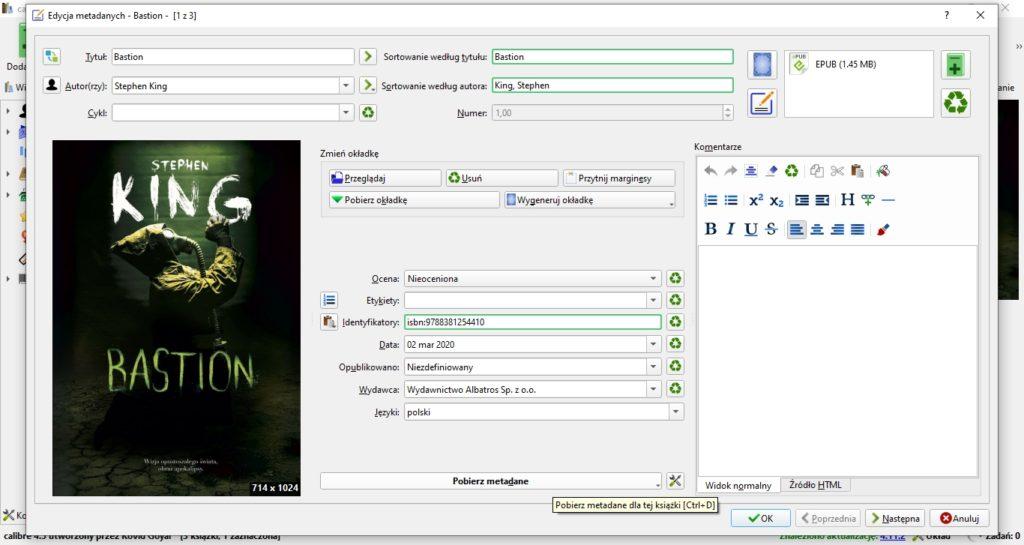 Edytowanie metadanych ebooków w programie Calibre