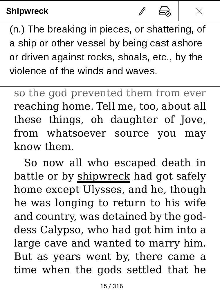 """Czytanie """"Odysei"""" Homera na czytniku ebooków (korzystanie ze słownika)"""