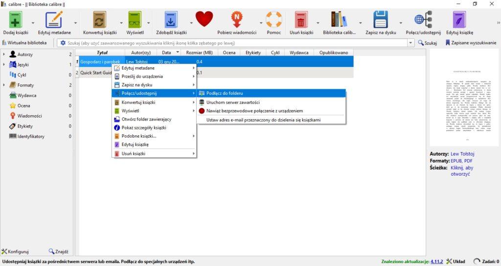 Korzystanie z serwera zawartości w programie Calibre
