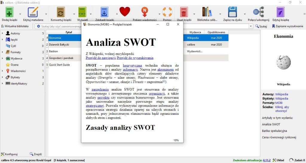 Podgląd ebooka stworzonego z artykułów z Wikipedii w programie Calibre