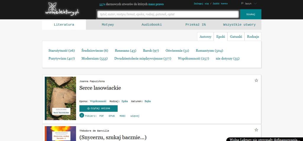 Podział darmowych ebooków na epoki w serwisie WolneLektury.pl