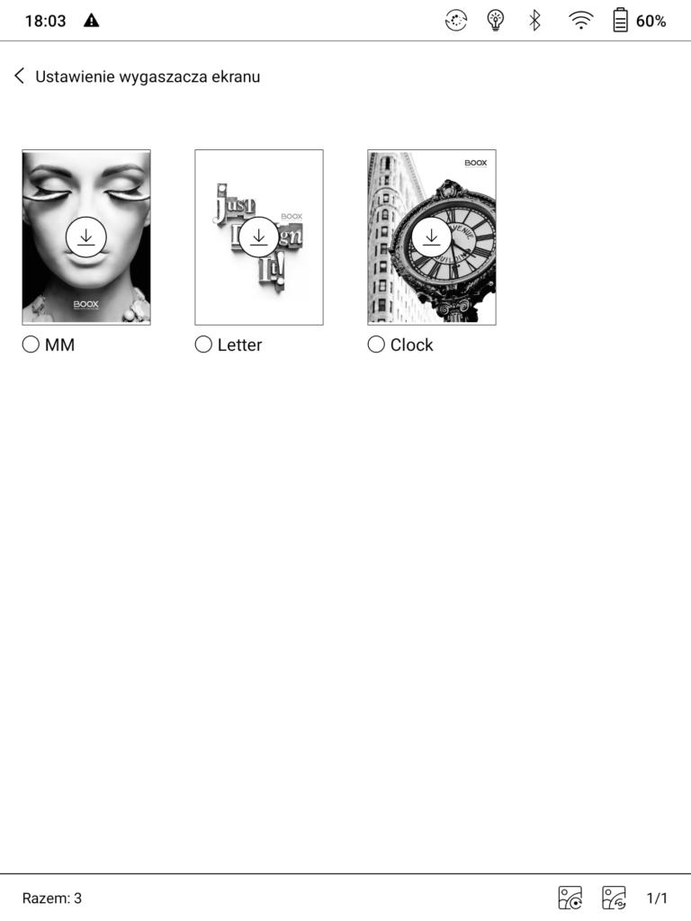 Wybieranie wygaszacza ekranu na czytniku Onyx Boox