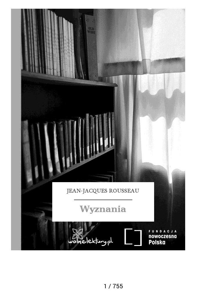 """Okładka """"Wyznań"""" Rousseau na czytniku ebooków"""