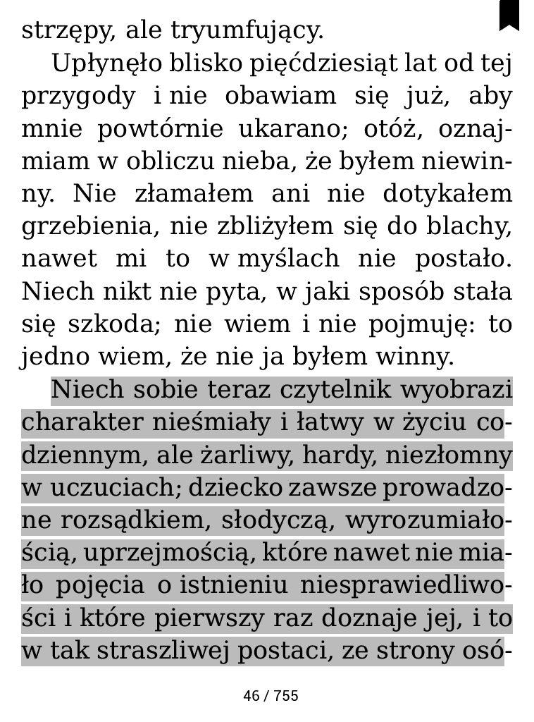 """Podkreślony fragment """"Wyznań"""" Rousseau na czytniku ebooków"""