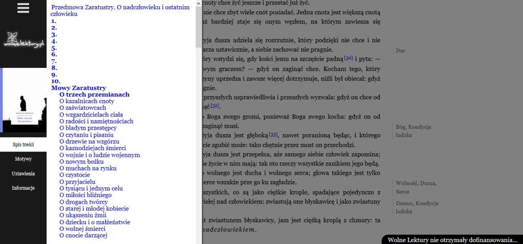 """Szczegółowy spis treści ebooka """"Tako rzecze Zaratustra"""" (w przeglądarce internetowej)"""