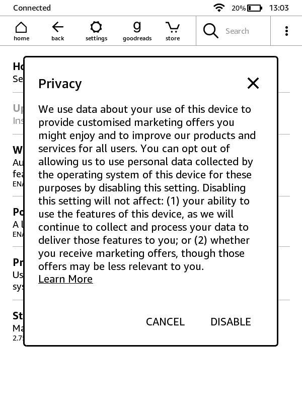 Dezaktywacja zbieranie danych użytkownika na czytnikach Kindle