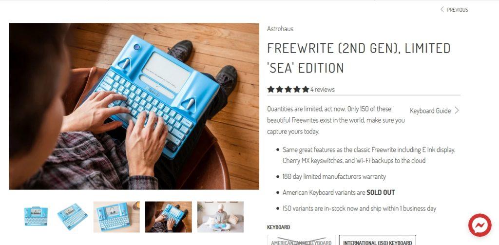 Klawiatura E Ink Freewrite 2 do kupienia na stronie getfreewrite.com