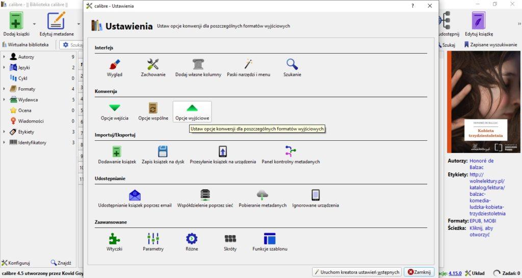Ustawienia konwersji ebooków w Calibre