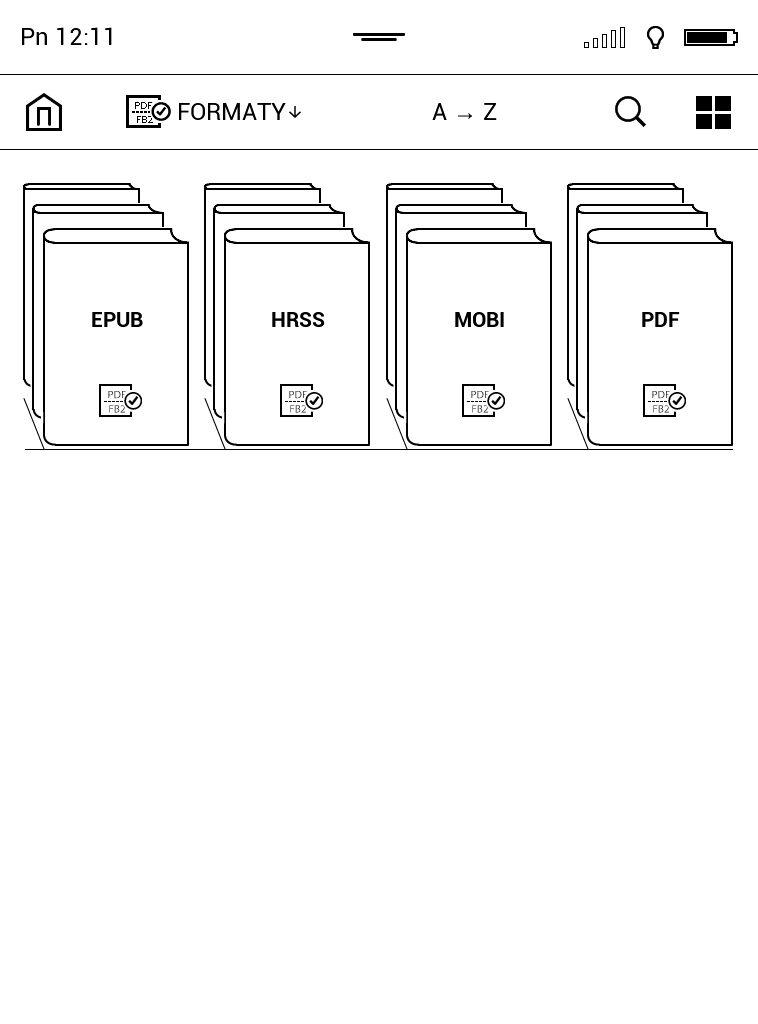 Grupowanie ebooków pod kątem formatów na czytniku PocketBook