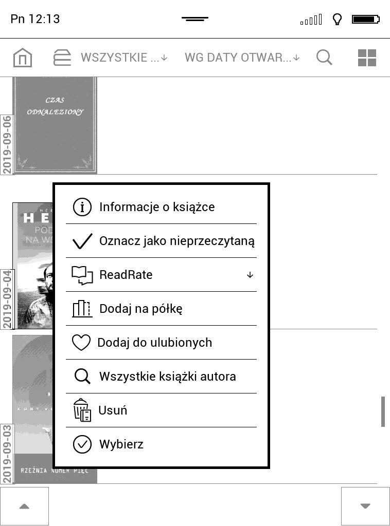 Dodawanie ebooka do kolekcji na czytniku PocketBook