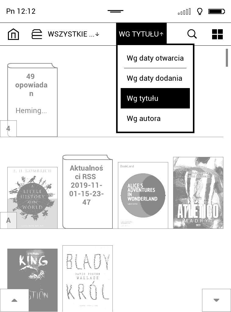 Sortowanie ebooków na czytniku PocketBook