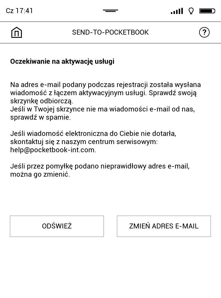Aktywacja usługi Send-to-PocketBook