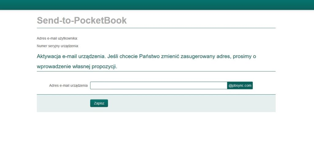 Wybór adresu e-mail czytnika ebooków w usłudze Send-to-PocketBook