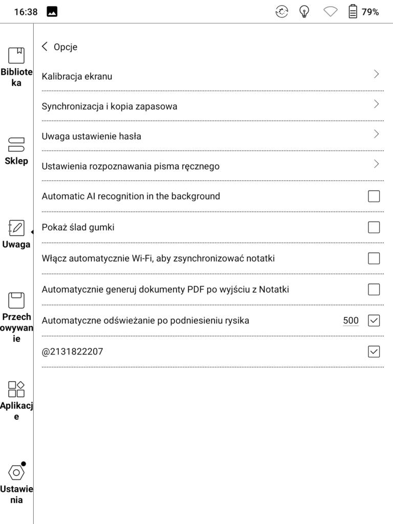 Opcja automatycznego generowania dokumenty PDF po wyjściu z notatek na czytniku Onyx Boox