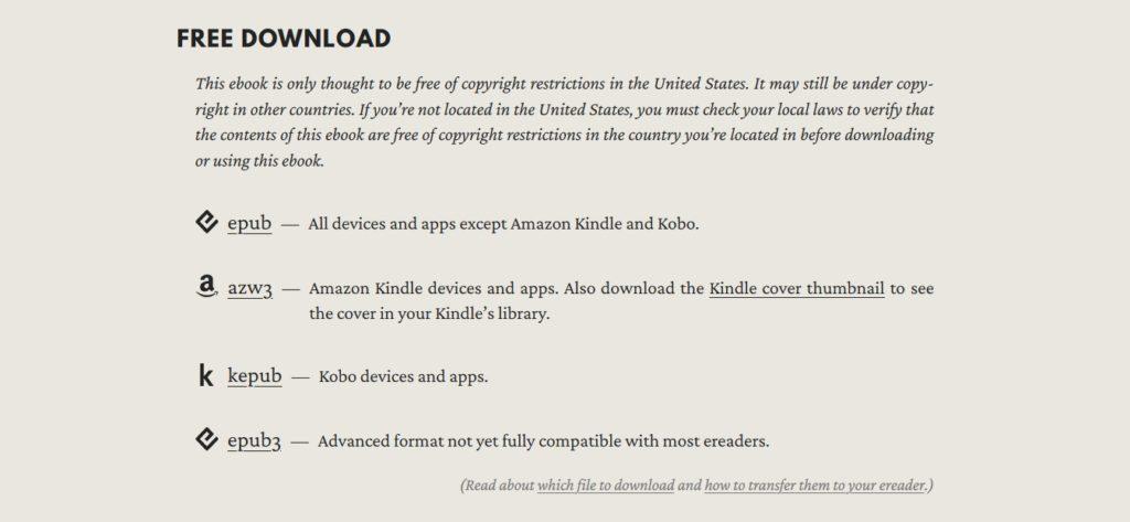Dostępne formaty darmowych ebooków na stronie Standard Ebooks