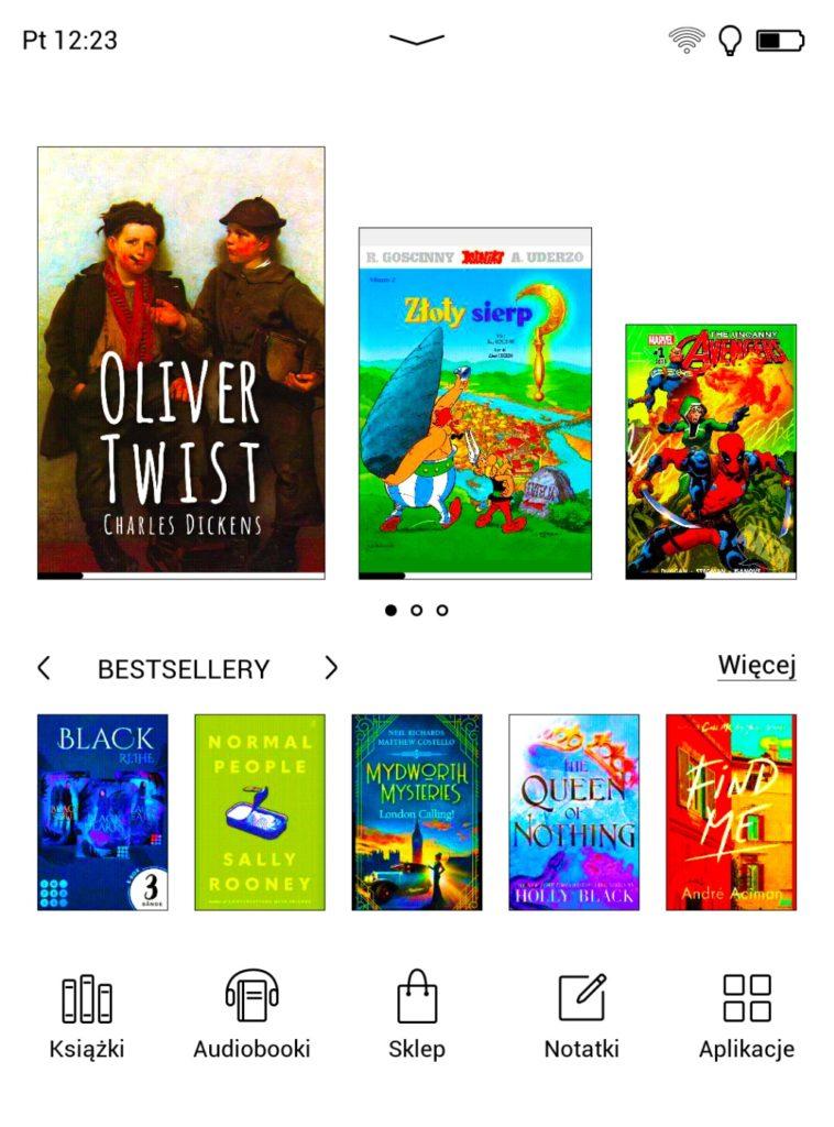 Ebooki w menu głównym PocketBooka Color