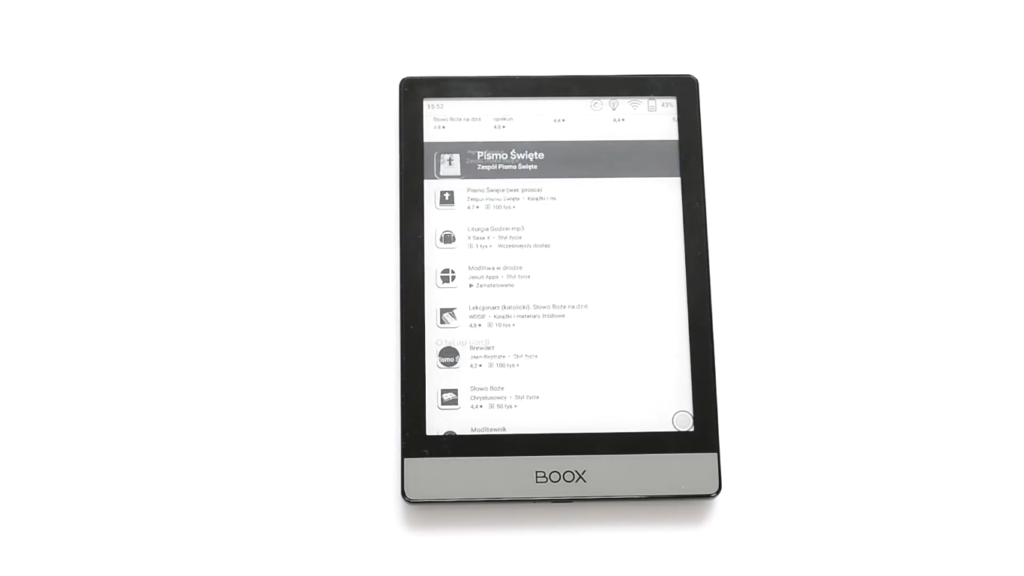 Aplikacja Pismo Święte na czytniku ebooków