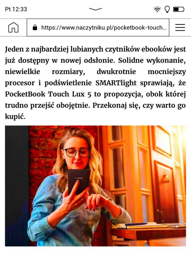 Przeglądanie Internetu na czytniku PocketBook Color