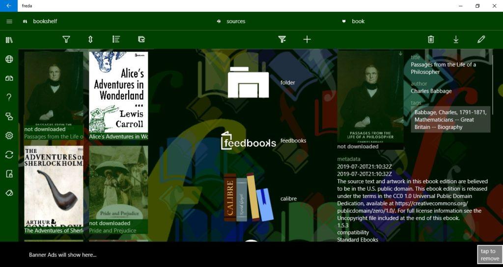 Główne menu w aplikacji Freda