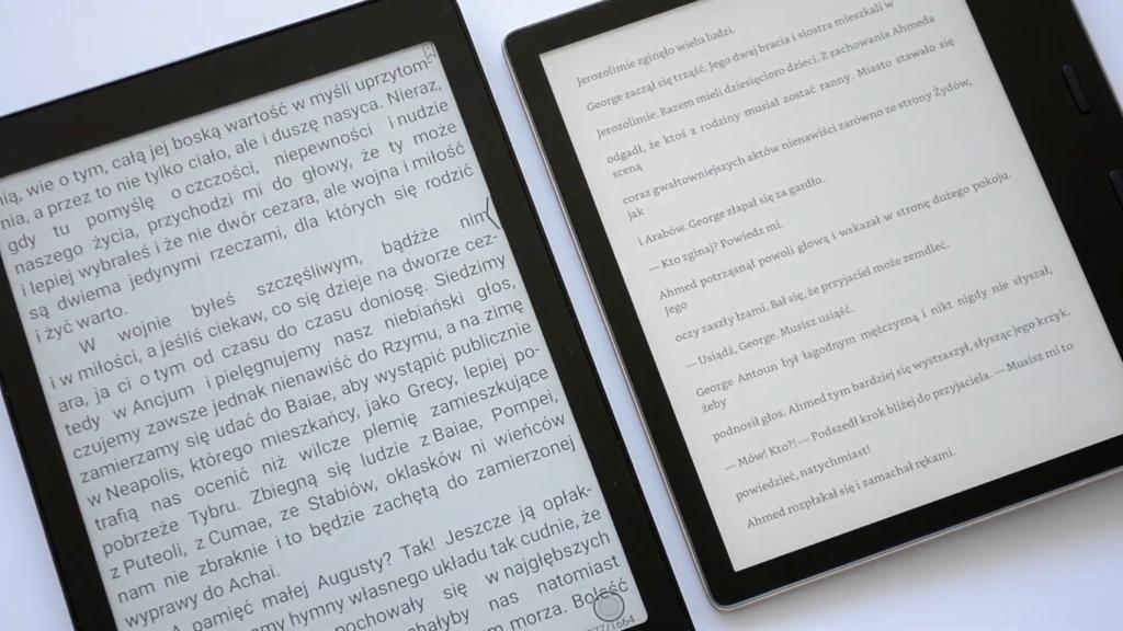 Porównanie wielkości ekranów Onyx Boox Nova 2 i Kindle Oasis 3