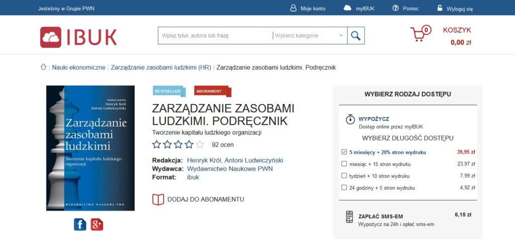 Opcje wypożyczenia ebooka w serwisie IBUK