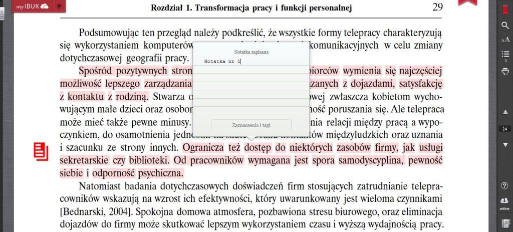 Podkreślenia i notatki w aplikacji myIBUK