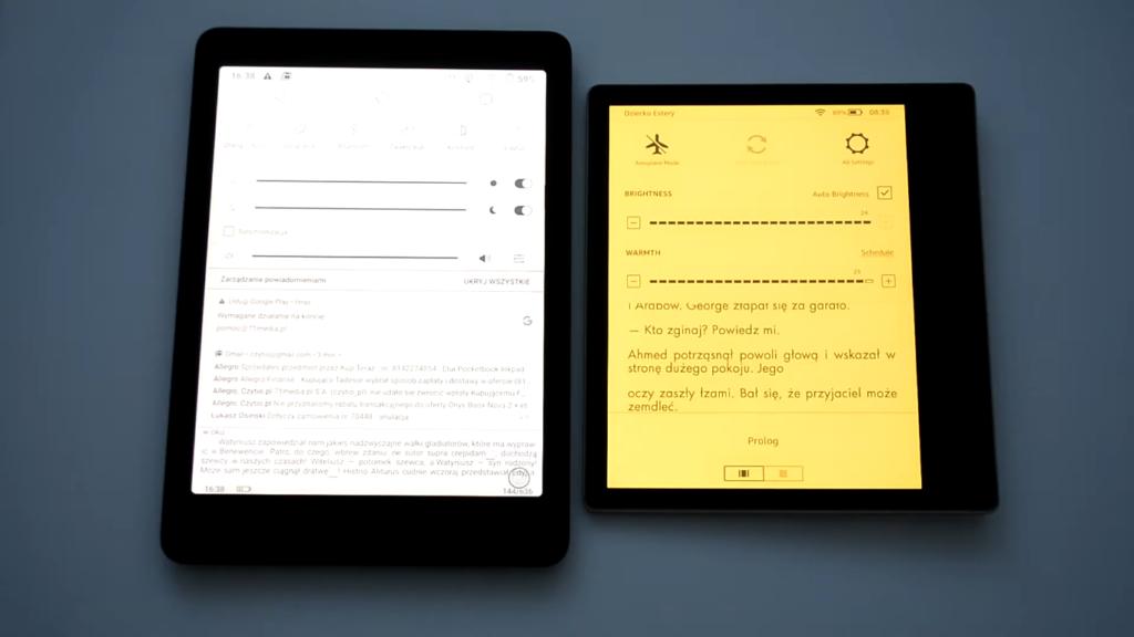 Podświetlenie ekranu na Onyx Boox Nova 2 i Kindle Oasis 3